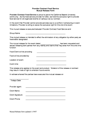 Mutual Release Form Pdf - Fill Online, Printable, Fillable, Blank ...