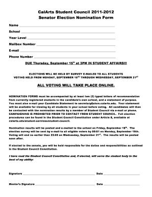 Nomination voucher code