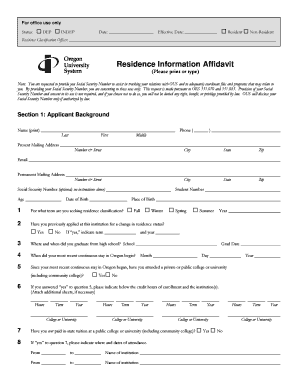 Residence Information Affidavit - Oregon University System - oregonstate