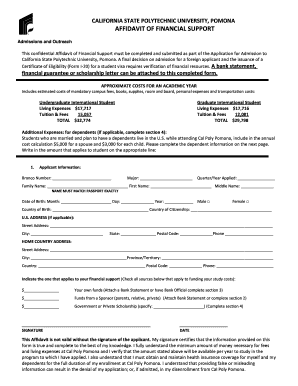 Affidavit of financial support - California State Polytechnic University ... - csupomona