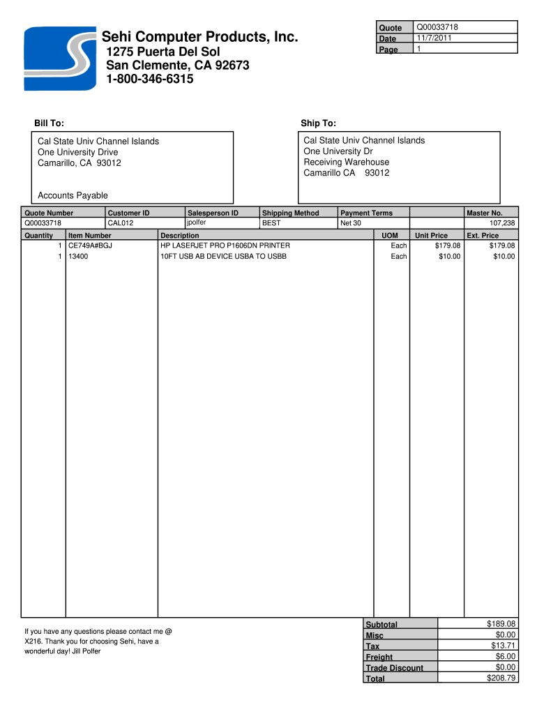Blank Quote Template - Fill Online, Printable, Fillable, Blank Throughout Blank Estimate Form Template