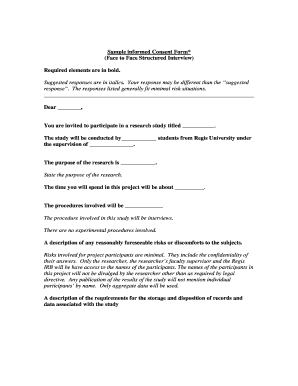 Sample informed consent form* . - regis university-colorado
