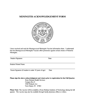 Meningitis Acknowledgement Form - Fill Online, Printable, Fillable ...