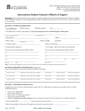 california state university fullerton international student financial affidavit of support form
