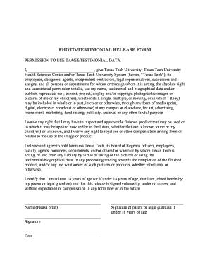 Fillable Online ttuhsc Photo/testimonial release form - Texas Tech ...