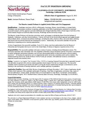 California State University Northridge Letter Of Recommendation