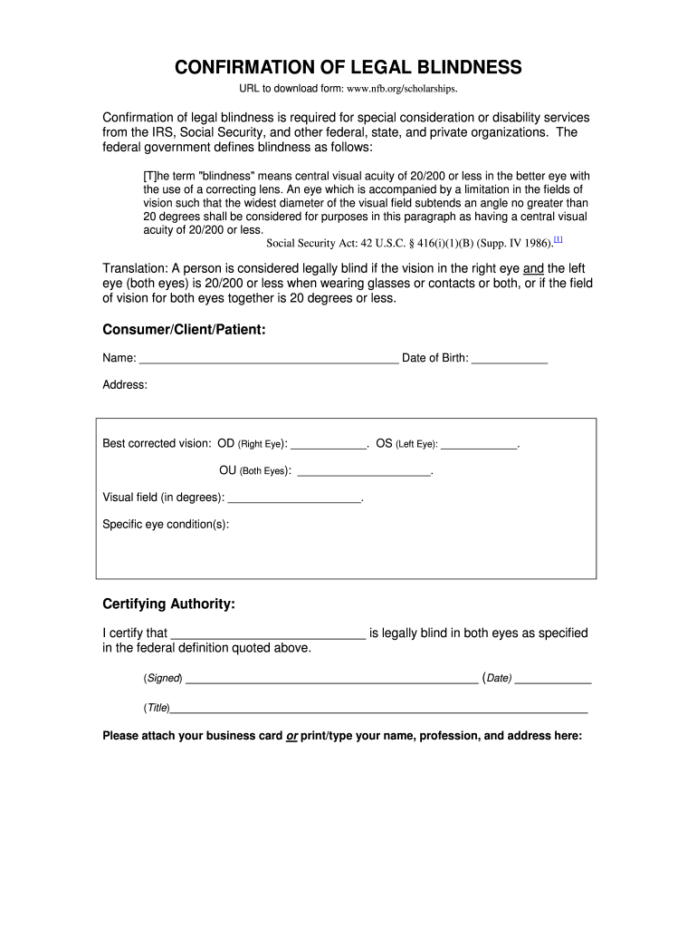 Legal Blindness Form Fill Online Printable Fillable