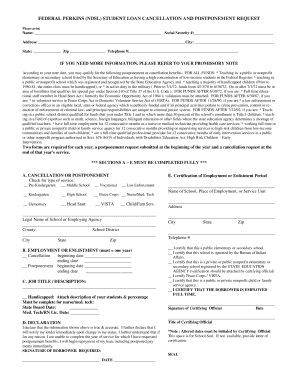 Perkins Loan Cancellation Form Sdsu - Fill Online, Printable ...