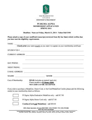 Fillable Online csus Membership Application Form - California ...