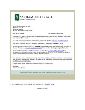 Fillable Online csus Letter of admission Spring 2012 - California ...