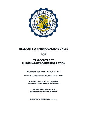 Request for proposal 2012-3-1666 for t&m contract plumbing-hvac ... - uakron