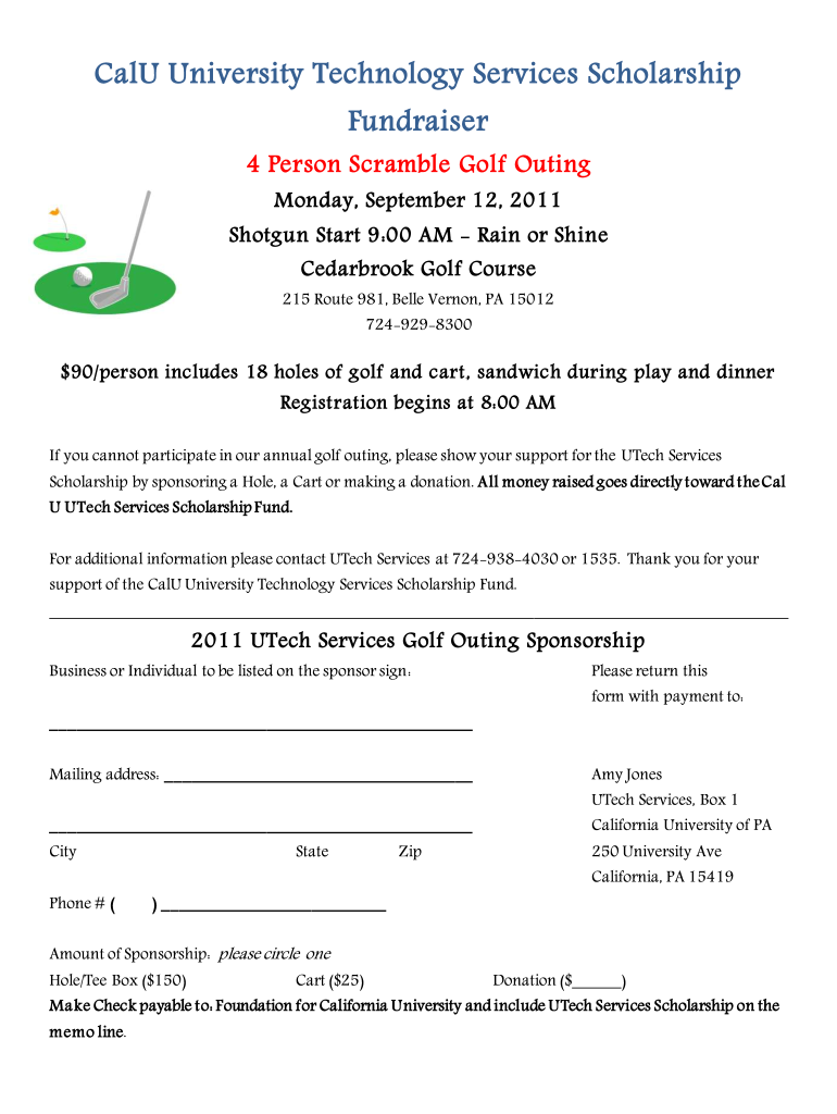 Fillable Golf Registration Form Template - Fill Online