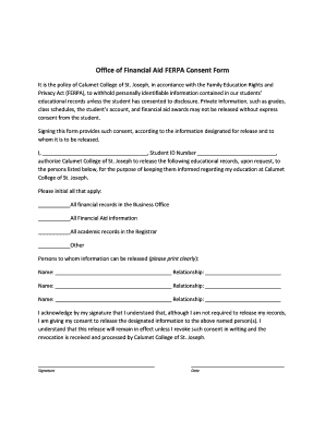 Fillable Online ccsj Office of Financial Aid FERPA Consent Form ...