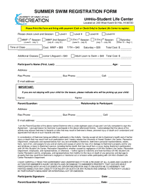 Fillable Online Uhh Hawaii Summer Swim Registration Form University Of Hawaii At Hilo Uhh