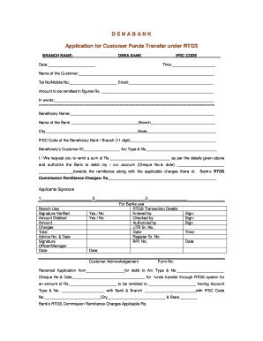 dena bank rtgs application form