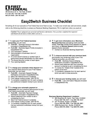 Easy2Switch Business Checklist   First Federal Savings Bank  Business Profile Format
