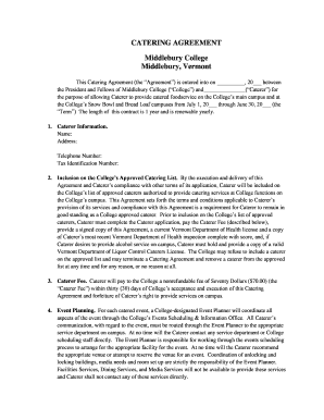 CATERING AGREEMENT Middlebury College Middlebury, Vermont - middlebury