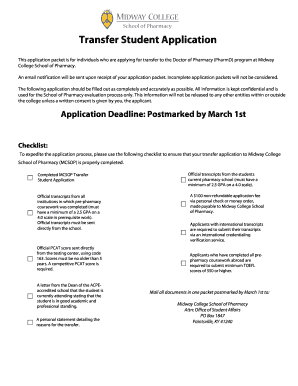 Transfer Student Application - Midway College