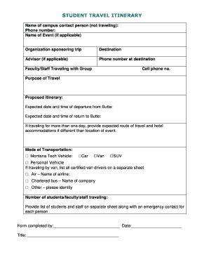 Editable Travel Itinerary Template Word 2010 Fill Out Print