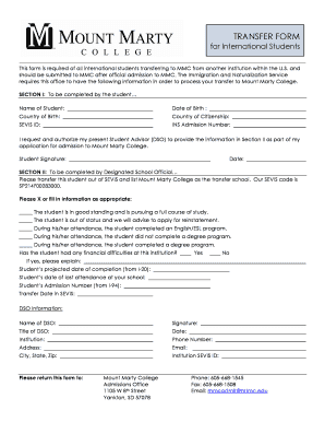 Submit the International Student Transfer Form - Mount Marty College - mtmc