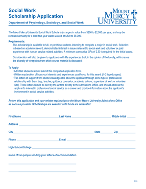 Fillable online mtmercy social work scholarship for Mount mercy email