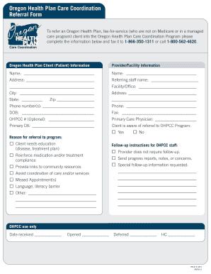 Fillable Online ohsu Oregon Health Plan Care Coordination Referral ...