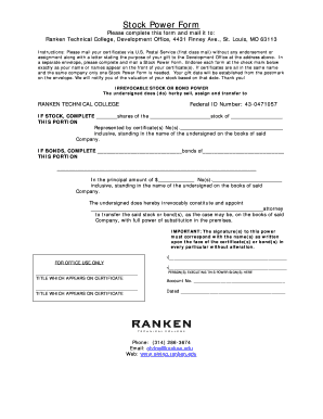 Stock Power Form Cooperative - Fill Online, Printable, Fillable ...