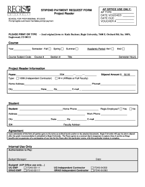 Fillable online regis stipend payment request form project fill online thecheapjerseys Choice Image
