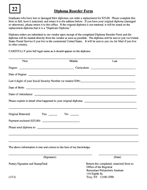 replacement rpi diploma form