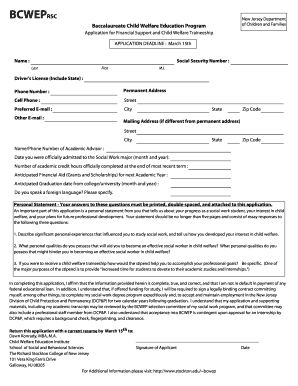 Ramapo College Tuition >> Bcwep New Jersey Stipend Amont - Fill Online, Printable, Fillable, Blank | PDFfiller