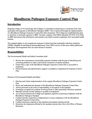bloodborne pathogens policy template - bloodborne pathogen exposure control plan fill print