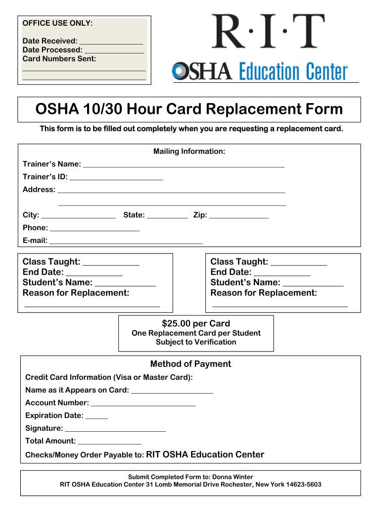 Osha 30 Card Template Fill Online Printable Fillable