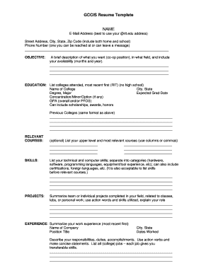 gccis resume form