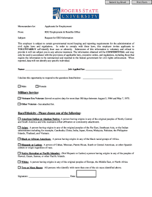 equal employment opportunity eeo voluntary self identificaton form