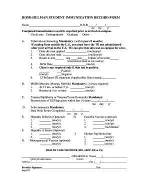 Immunization record fillable form