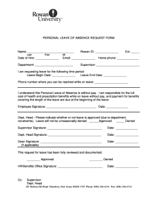 Fillable Online rowan PERSONAL LEAVE OF ABSENCE REQUEST FORM Name ...