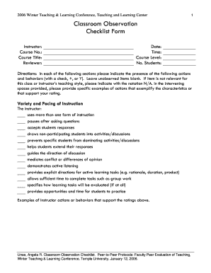 Temple Teaching Observation Forms - Fill Online, Printable, Fillable ...