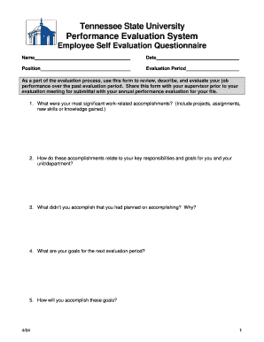 Employee Self Evaluation Form - Tennessee State University - tnstate