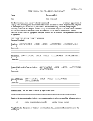 Fillable Online tntech Form T16-05 - Tennessee Tech University ...