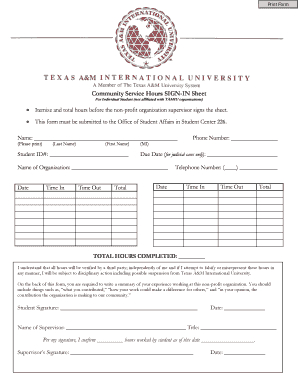 Community Service Hours SIGN-IN Sheet - Texas A&M International ...