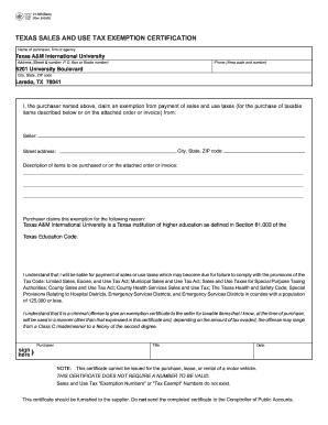 texas sales tax exemption form