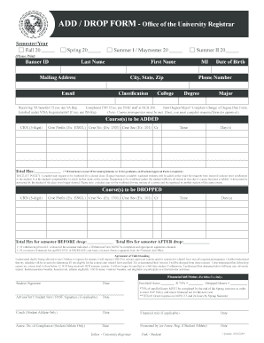 Fillable Online tamiu ADD / DROP FORM - Office of the University ...