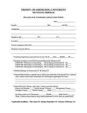 Practicum Application Form - Fill Online, Printable, Fillable ...
