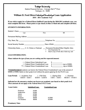 parent plus loan application tuskegee university form