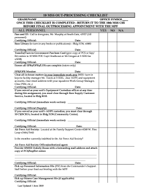 fillable online usafa outprocessing united states air With air force checklist template