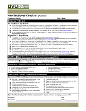New Employee Checklist (Full-time) - Utah Valley University - uvu