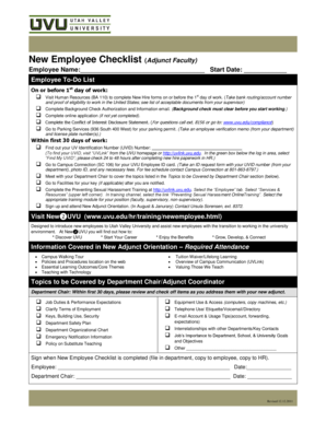 New Employee Checklist (Adjunct Faculty) - Utah Valley University - uvu