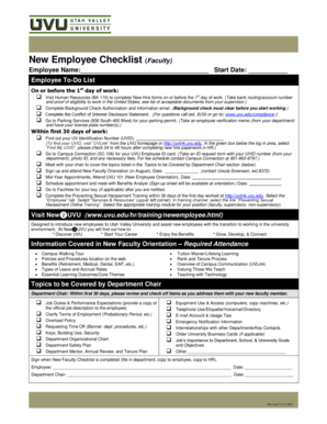 New Employee Checklist (Faculty) - Utah Valley University - uvu