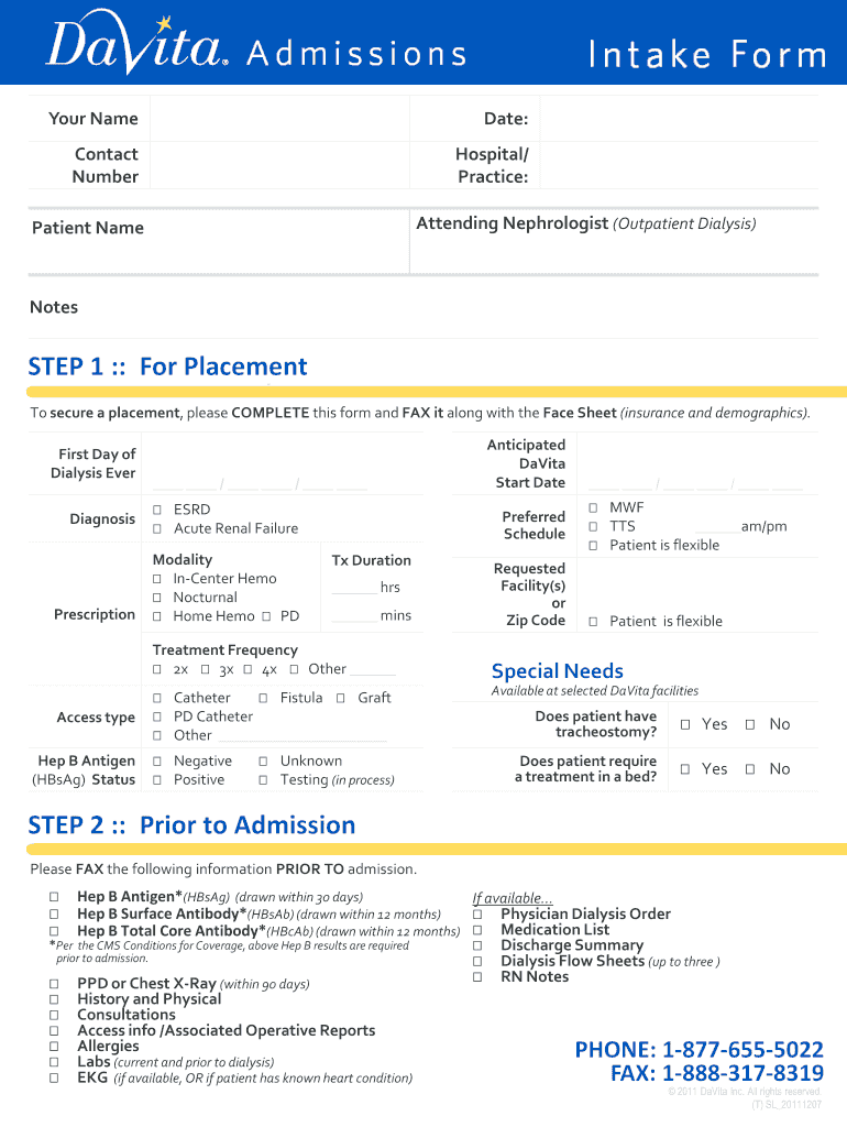 Davita Admissions - Fill Online, Printable, Fillable, Blank