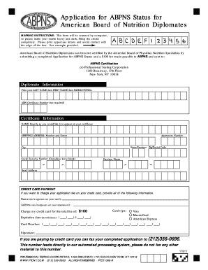 Application for ABPNS Status for American Board of Nutrition